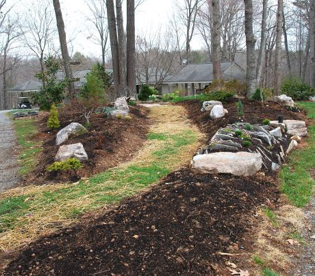 "March 23. A week after the stones were in place, the grass path was seeded & strawed, and the first shrubs were planted. I was still shopping for the perfect low ground cover to go into the hottest spot in the ""V"" of the gravel driveway."